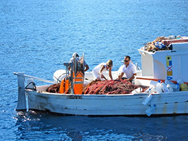 Buying-fish-on-a-fishing-boat-in-Italy